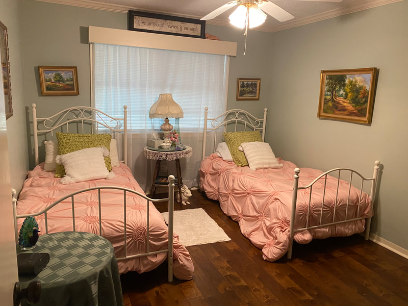 """The Garden Room"" - king size bed/twin bed conversion - full bath."